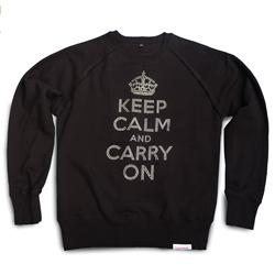 Front view of Keep Calm and Carry On Men's Crew Sweat (Silver on Black)