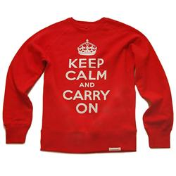 Front view of Keep Calm and Carry On Men's Crew Sweat (White on Red)