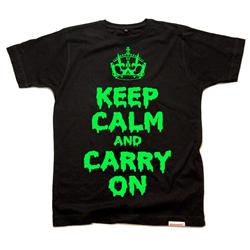 Front view of Keep Calm and Carry On Halloween edition  Men's T-Shirt (Green on Black)