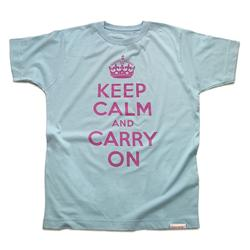 Front view of Keep Calm and Carry On Men's T-Shirt (Pink on Baby Blue)