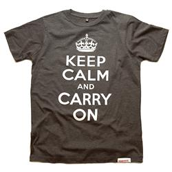 Front view of Keep Calm and Carry On Men's T-Shirt (White on Charcoal)