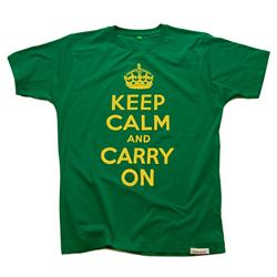 Front view of Keep Calm and Carry On Men's T-Shirt (Yellow on Green)