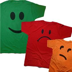 Front pic of 'YesNoMaybe 3 Pack' Men's T-Shirt, Black on Red Green Orange