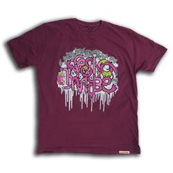 Front pic of 'addfueltothefire' Men's T-Shirt, Pink on Plum