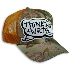 Front pic of 'Thinking Hurts' Cap, Multicolour on Yellow