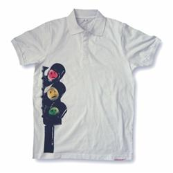 Front pic of 'Traffic Lights' Men's Polo Shirt, Red Green Orange on White
