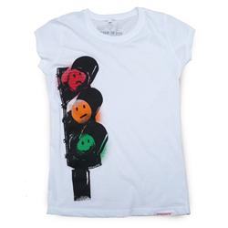 Front pic of 'Traffic Lights' Women's Raw Cut T, Red Green Orange on White