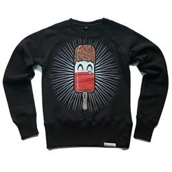 Front pic of 'Fab' Women's Crew Sweat, Red on Black