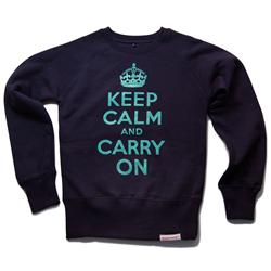 Front view of Keep Calm and Carry On Women's Crew Sweat (Duck Egg Green on Navy)