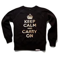 Front view of Keep Calm and Carry On Women's Crew Sweat (Gold on Black)