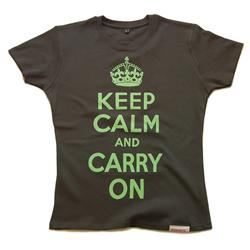 Front view of Keep Calm and Carry On Women's Fitted T (Duck Egg Green on Charcoal)