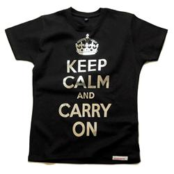Front pic of 'Keep Calm and Carry On' Women's Fitted T, Silver on Black