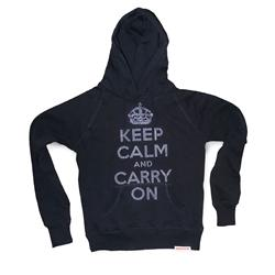 Front view of Keep Calm and Carry On Women's Kangaroo Hood (Silver on Black)