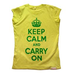 Front view of Keep Calm and Carry On Women's Raw Cut T (Green on Lemon)