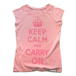 Front view of Keep Calm and Carry On Women's Raw Cut T (Hot Pink on Pink)