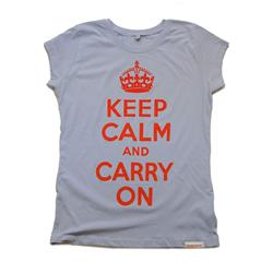 Front view of Keep Calm and Carry On Women's Raw Cut T (Red on Powder Blue)