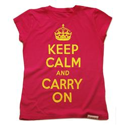 Front view of Keep Calm and Carry On Women's Raw Cut T (Yellow on Pink)