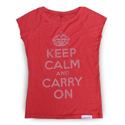 Front view of Keep Calm and Carry On Women's T-Shirt (Silver on Red)