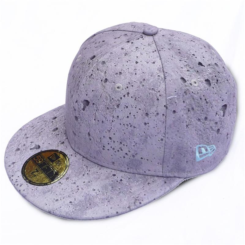 Front view of Concrete Print New Era 59FIFTY Baseball Cap (Grey on Grey)