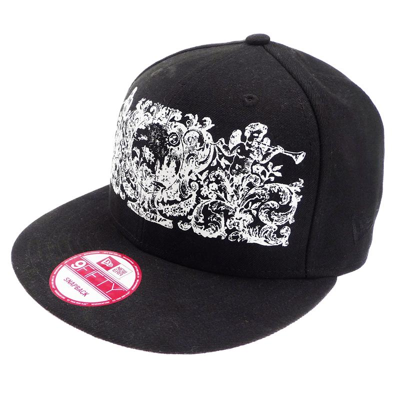 Front view of Crests Snapback Cap (White on Black)