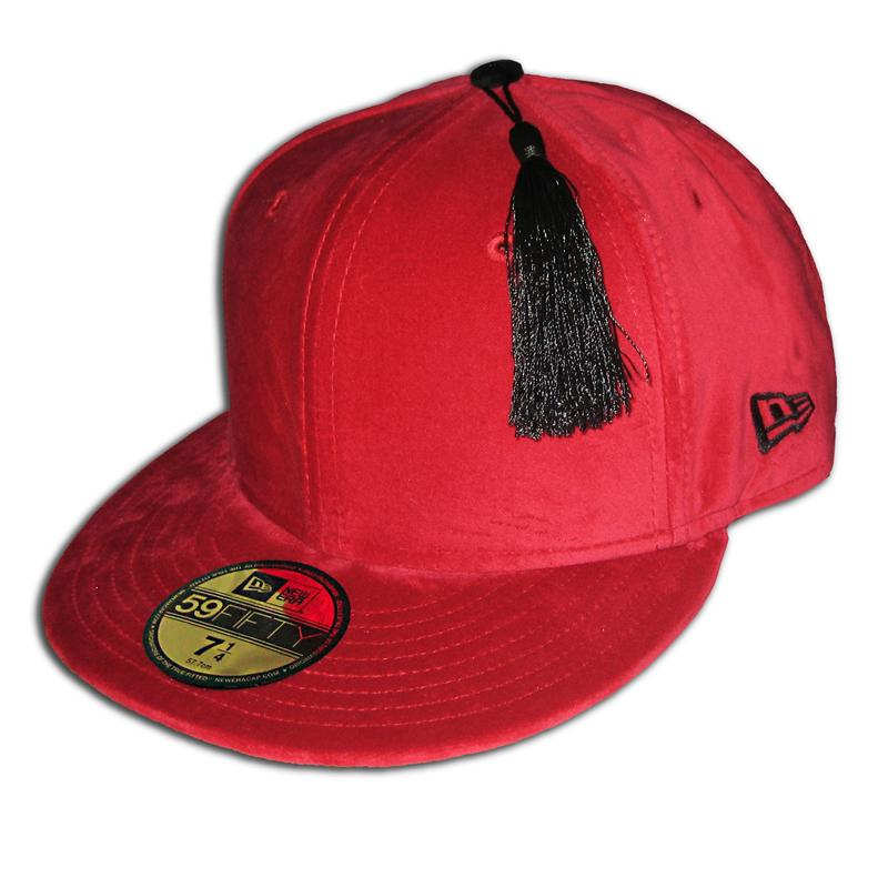 Front view of The Fez New Era 59FIFTY Baseball Cap (Black on Red)