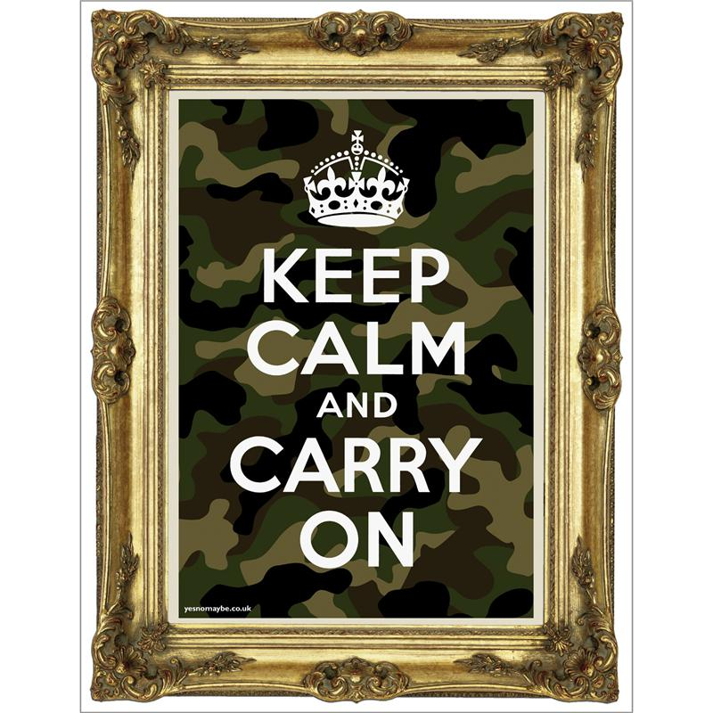Front view of Keep Calm and Carry On Poster (Gold on Camo)