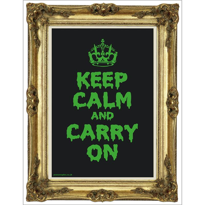 Front view of Keep Calm and Carry On Poster (Gold on Fluorescent Green)