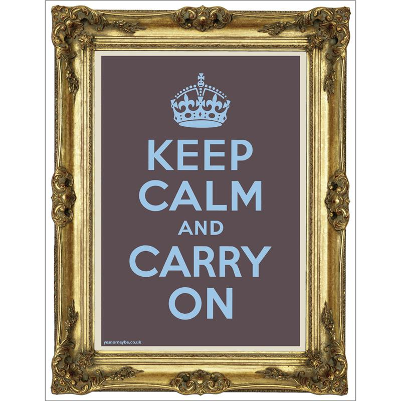 Front view of Keep Calm and Carry On Poster (Gold on Plum)