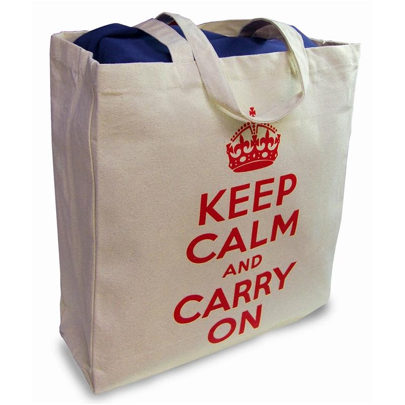 Front view of Keep Calm and Carry On Shopper Bag (Red on Cream)