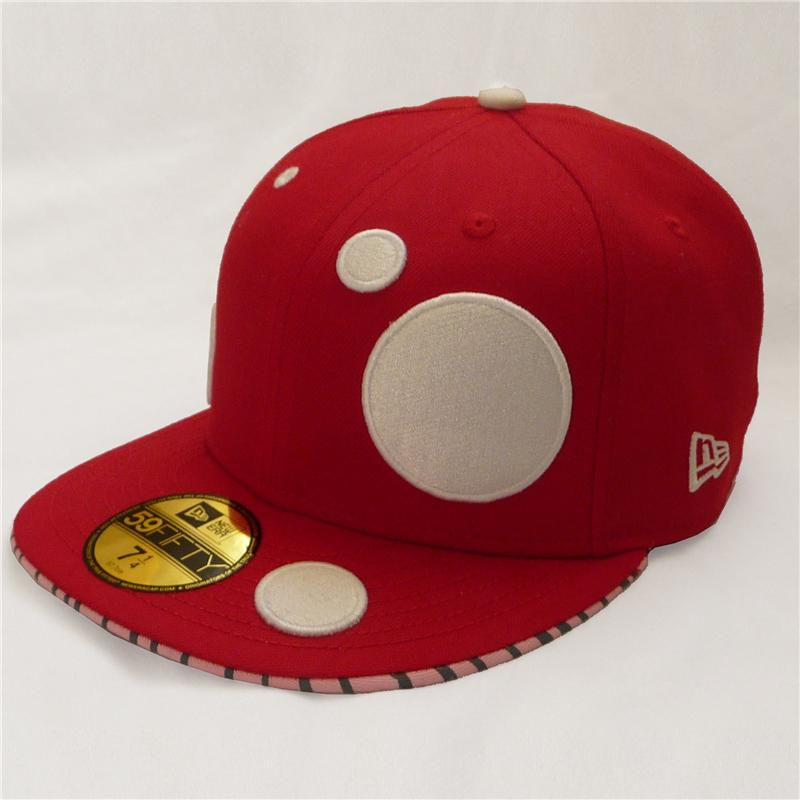 Front view of Mushroom New Era 59FIFTY Baseball Cap (White on Red)