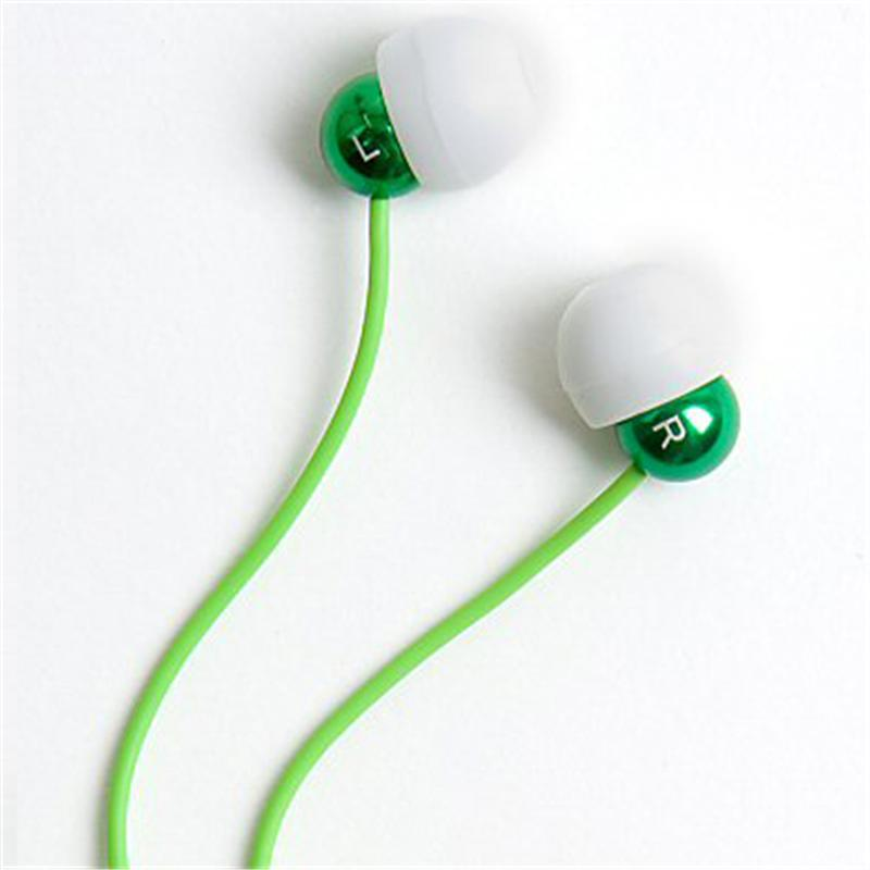 Front view of Radiopaq Dots Earphones (Green on Green)