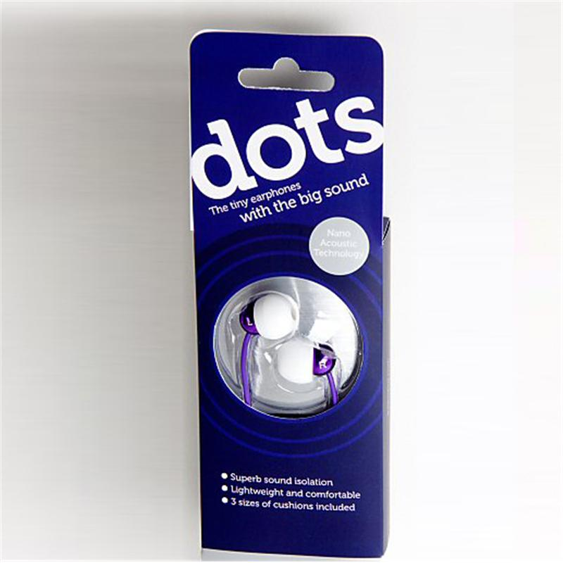 Front view of Radiopaq Dots Earphones (Purple on Purple)