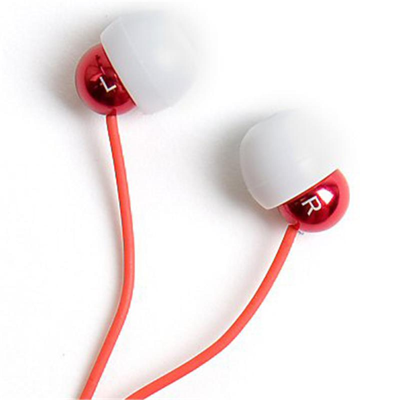 Front view of Radiopaq Dots Earphones (Red on Red)