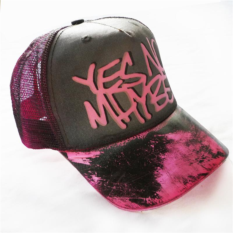 Front view of Scrawl Cap (Grey on Fluorescent Pink)