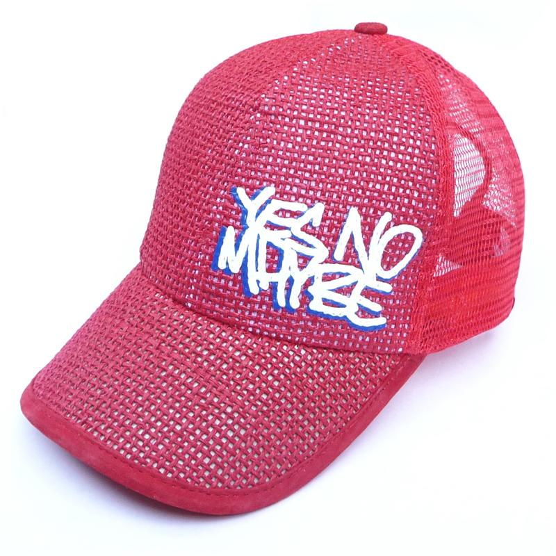 Front view of Scrawl Cap (White on Red)