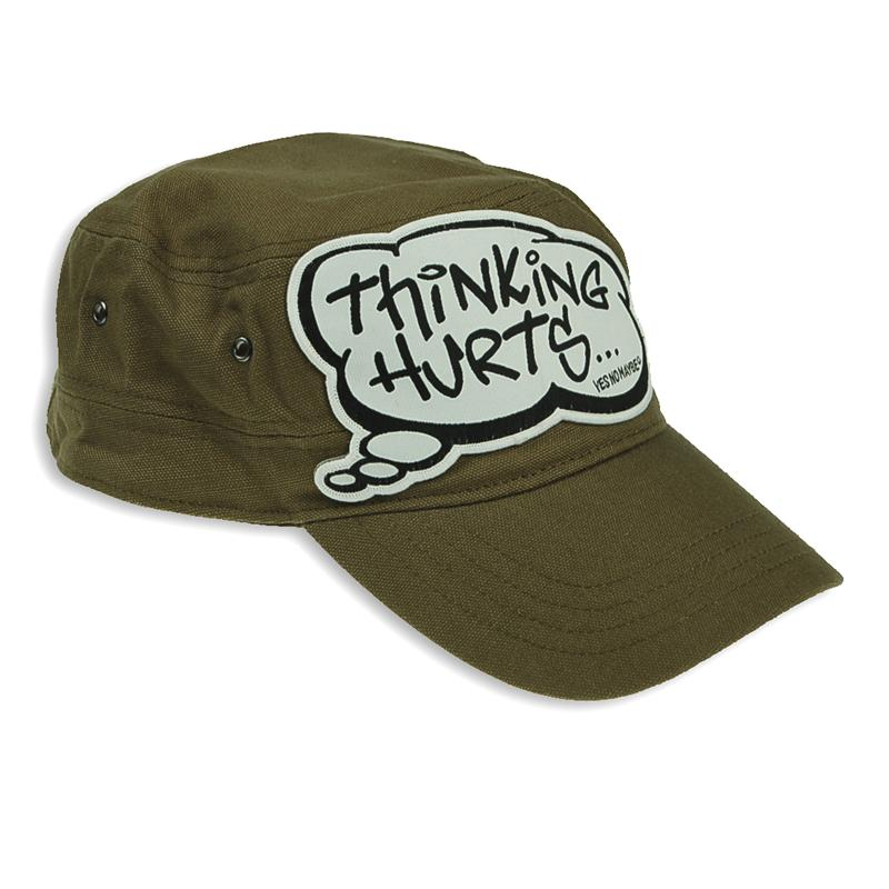 Front view of Thinking Hurts Cap (Black on Olive)