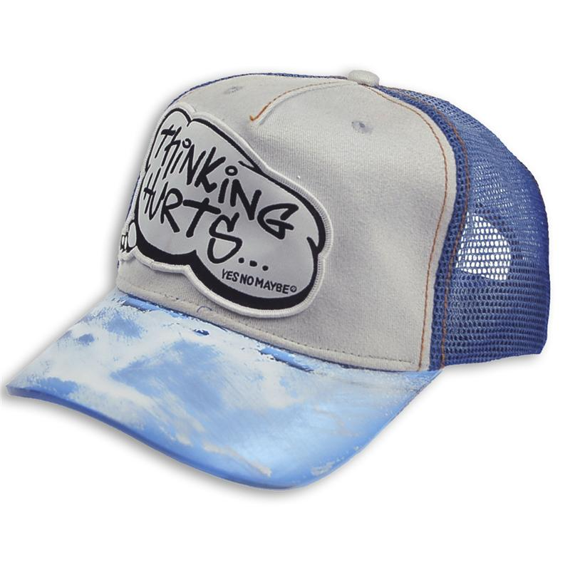 Front view of Thinking Hurts Cap (White on Blue)