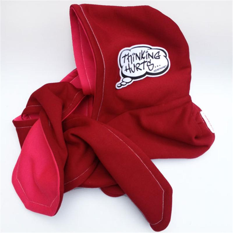 Front view of Thinking Hurts Hooded Scarf (Pink on Red)
