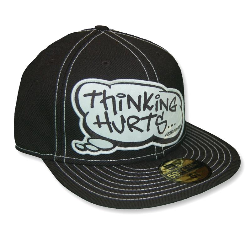 Front view of Thinking Hurts New Era 59FIFTY Baseball Cap (White on Black)