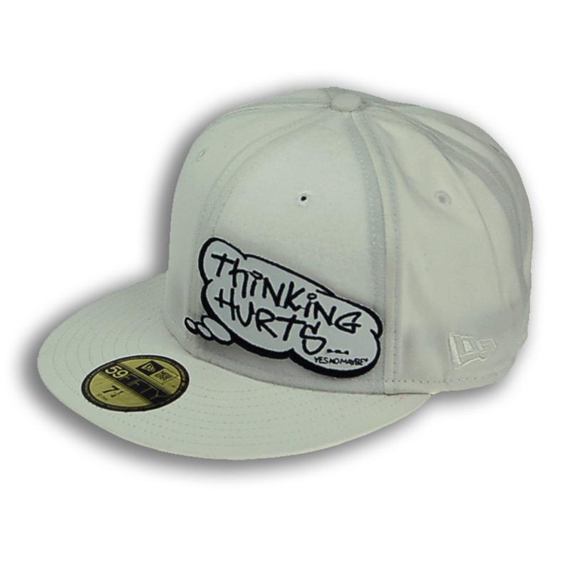 Front view of Thinking Hurts New Era 59FIFTY Baseball Cap (White on White)