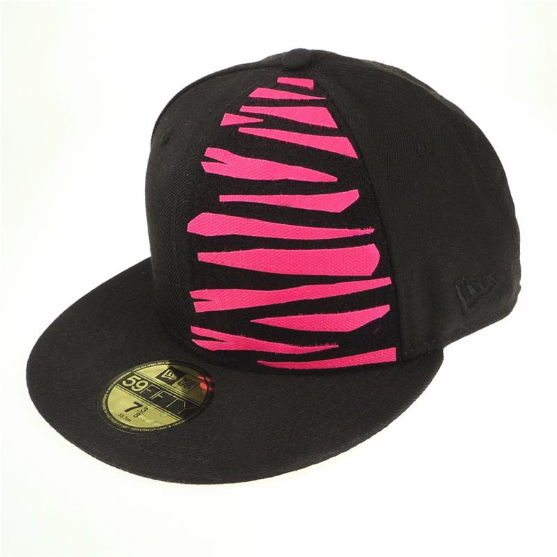 Front view of Tiger New Era 59FIFTY Baseball Cap (Pink on Black) ... d7b2ca6d2eb