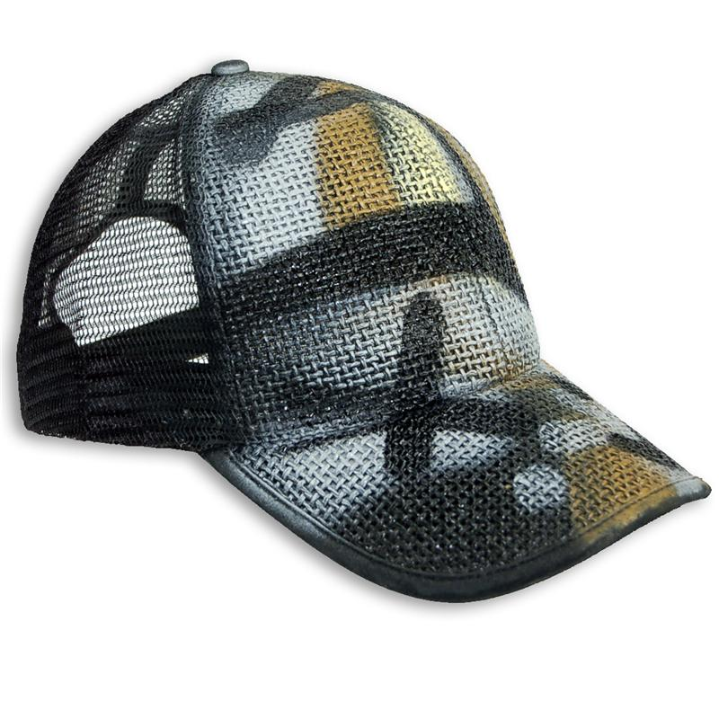 Front view of Urban Camo Cap (Mustard on Black)