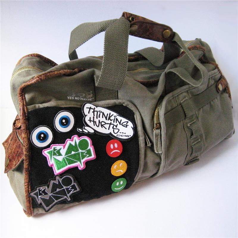 Front view of Hook and Loop Patch Cabin Bag (Assorted on Army)