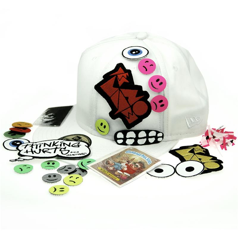 Front view of Hook and Loop Patch New Era 59FIFTY Baseball Cap (Multicolour on White)