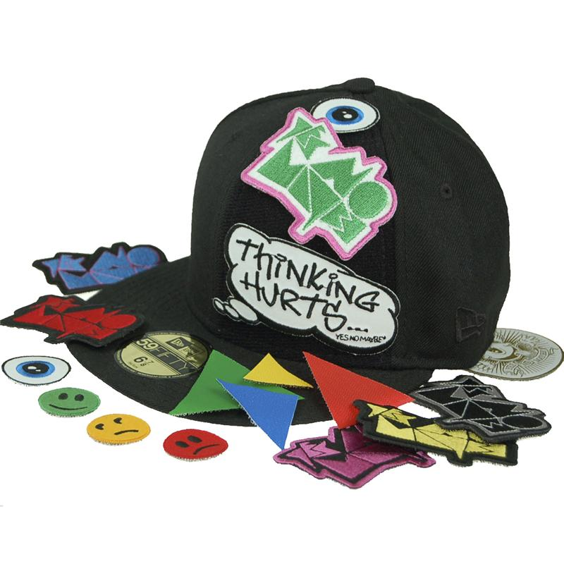 Front view of Velcro Patch New Era 59FIFTY Baseball Cap (Multicolour on Black)
