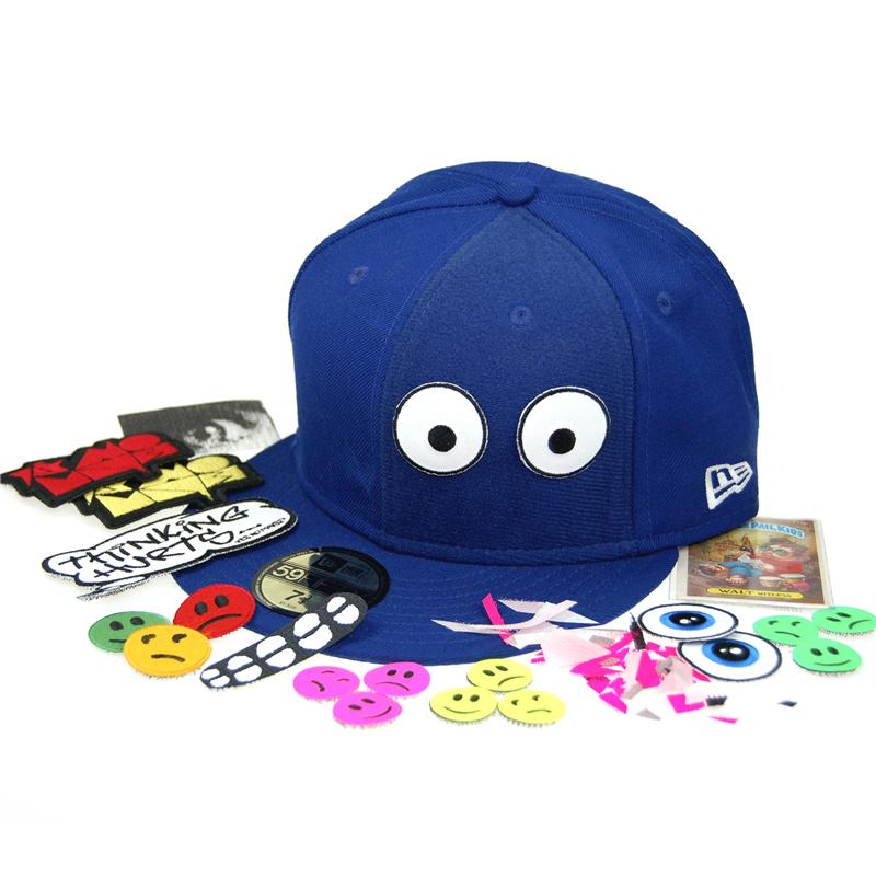 Front view of Hook and Loop Patch New Era 59FIFTY Baseball Cap (Multicolour on Blue)