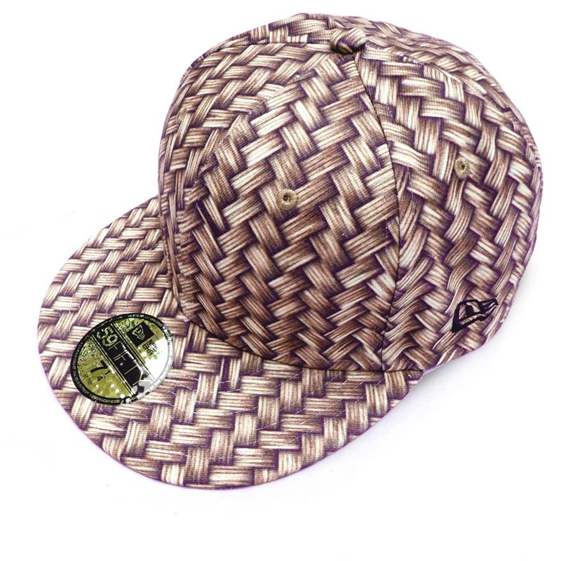 Front view of Wicker Print New Era 59FIFTY Baseball Cap (Tan on Brown)