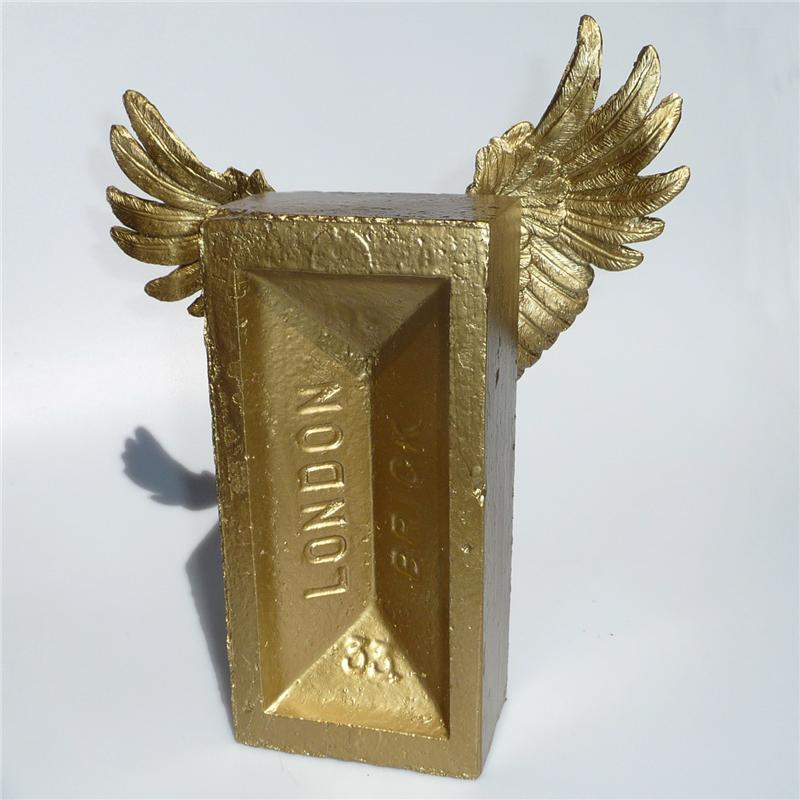 Front view of Winged Brick (Midi) Sculpture (Gold on Gold)