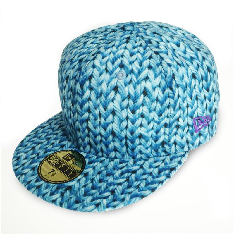 Front view of Wool Print New Era 59FIFTY Baseball Cap (Baby Blue on Blue)