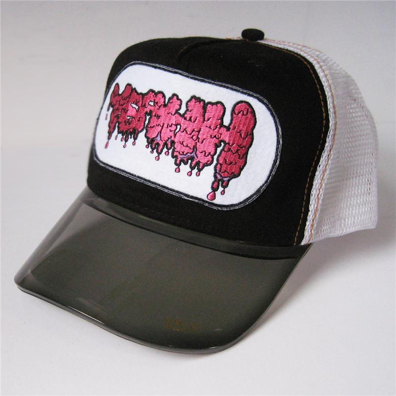 Front view of Yeahh Cap (Hot Pink on Black)